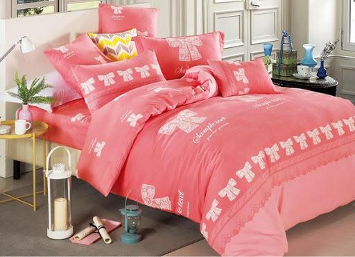 Bộ chăn ga gường đỏ hồng
